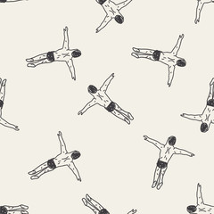 diving doodle seamless pattern background