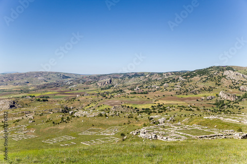 Foto op Canvas Turkey Hattusa. Scenic mountain landscape with archaeological zone