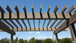 Portland wooden backyard pergola against blue sky - 81277459