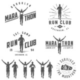 Set of vintage marathon labels, medals and design elements