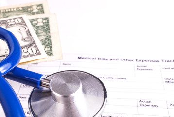 Medical Bill Statement with Stethoscope and Money