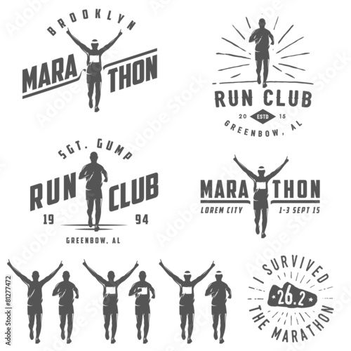 Fototapeta Set of vintage marathon labels, medals and design elements