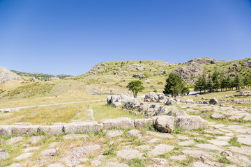 Hattusa, Turkey. Mountain landscape with archaeological zone