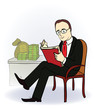 businessman with a book near the table with money. Vector