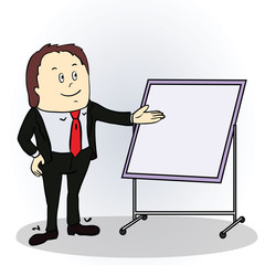 Illustration of a color cartoon character. Friendly businessman