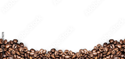 Deurstickers Koffie coffee beans white background