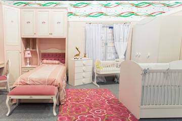 Baby's bedroom in pastel colors