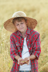 Teenage farmer checking oat seeds in cupped palms at harvest