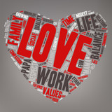 Word Cloud - Family Values, Love - Heart Shape poster