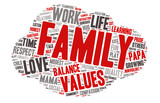 Word Cloud - Family Values, Love - Cloud Shape poster