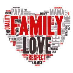 Word Cloud - Family Values, Love - Heart Shape