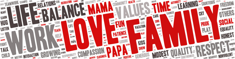 Word Cloud - Family Values, Love - Isolated Banner