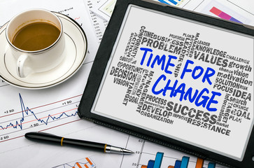 time for change with related words cloud on tablet pc