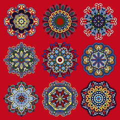 round ornamental geometric doily pattern collection