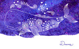 Watercolor Card Dreams with Beautiful Whale