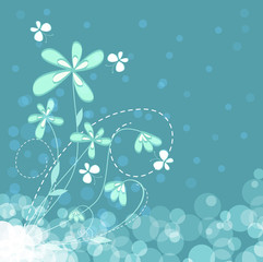 Background with flowers and flying butterfly