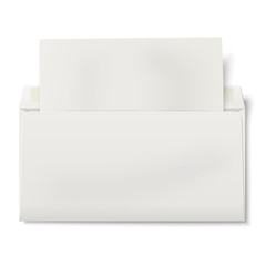 Opened DL envelope with sheet of paper inside isolated on white