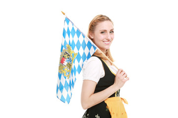 Wiesnmadl mit Flagge