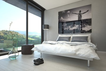 Architectural Bedroom Design with Glass Windows