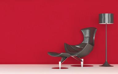 Moderner Ledersessel steht vor roter Wand | 3d Interior