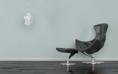 Elegant black recliner chair in a minimalist room
