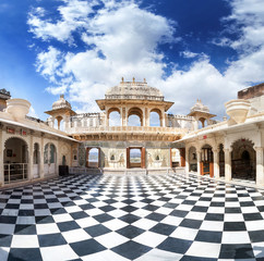 Udaipur City Palace with chess floor