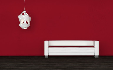 Comfortable white sofa in a red room