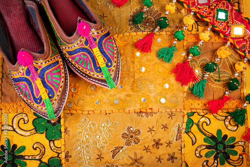 Fotobehang India Ethnic Rajasthan shoes and belt
