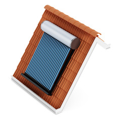Solar panel on roof tile