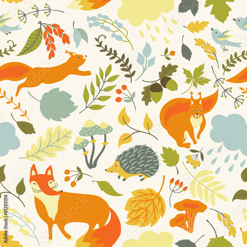 Cotton fabric Seamless pattern with animals.