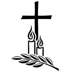 Trauermotiv mit Kruzifix, Kerzen und Zweig / Vektor