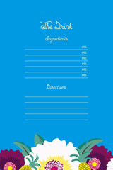 Drink recipe notepad on blue background and flowers