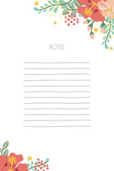 Floral notepad on white background. Vector design.