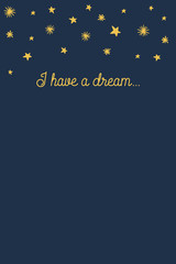 I have a dream notepad with hand drawn stars. Vector design.