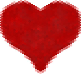 heart from red hexagons isolated on white