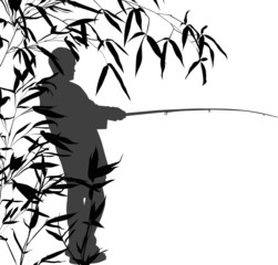 grey fisherman silhouette in bamboo on white