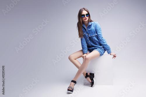 high fashion portrait of young elegant woman. Studio shot - 81285498