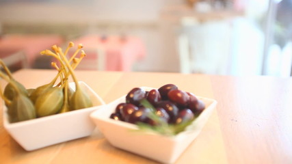 Olives served as appetizer in a restaurant
