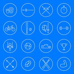 Sport line white round icons, vector illustration, eps10