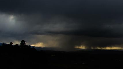 violent snow storm covers hills, time lapse Transylvania