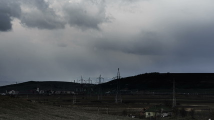 Eastern Europe industrial buildings Jucu storm passing