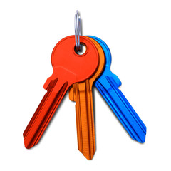 Multicolored keys. Isolated on white background.(Clipping Path)