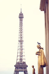 Pigeon standing on a statue in Paris, Eifel tower in background