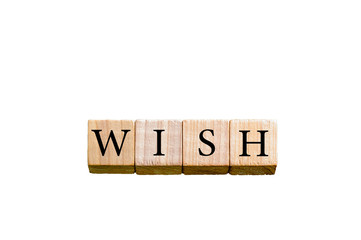 Word WISH isolated on white background with copy space
