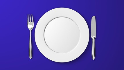 Top View Of Cutlery And Dish On Blue Background