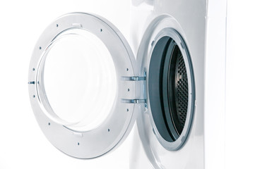 Washing machine with an open door detail