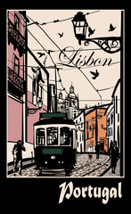 Typical architecture and tramway in Lisbon