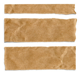 Piece of brown packaging paper isolated on white background with