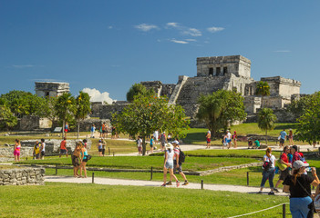 Temple The Castle in archaeological site Tulum, Mexico