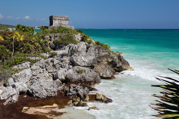 Picturesque view of ancient temple on the rock and the Caribbean